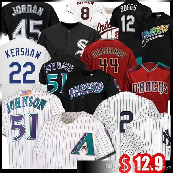 best selling 51 Randy Johnson Jersey 9 Javier Baez 20 Pete Alonso 12 Wade Boggs 44 Paul Goldschmidt Jeter Baseball Jerseys Piazza