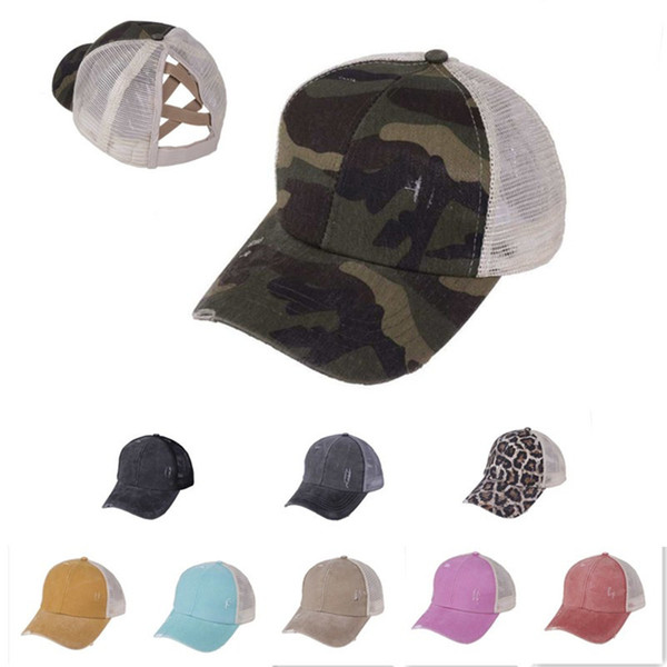 best selling Hole Ponytail Baseball Hat Washed Cotton Baseball Cap Summer Breathable Mesh Running Hat Beach Snapback Party Hats OOA8095