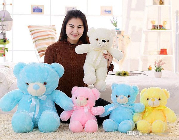 best selling 4 Color 30cm 50cm 80cm LED Colorful Glowing Teddy Bear Giant shell giant teddy toy Valentine's Day holiday gift bear Christmas Plush To