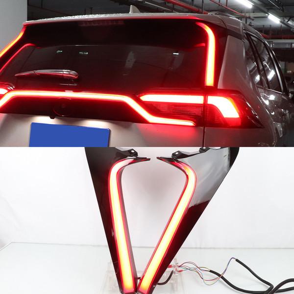 top popular 1 Pair Car LED Reflector Rear Pillar Light Rear Running Light Bumper Brake Light Dynamic Turn Signal For Toyota RAV4 2019 2020 2021