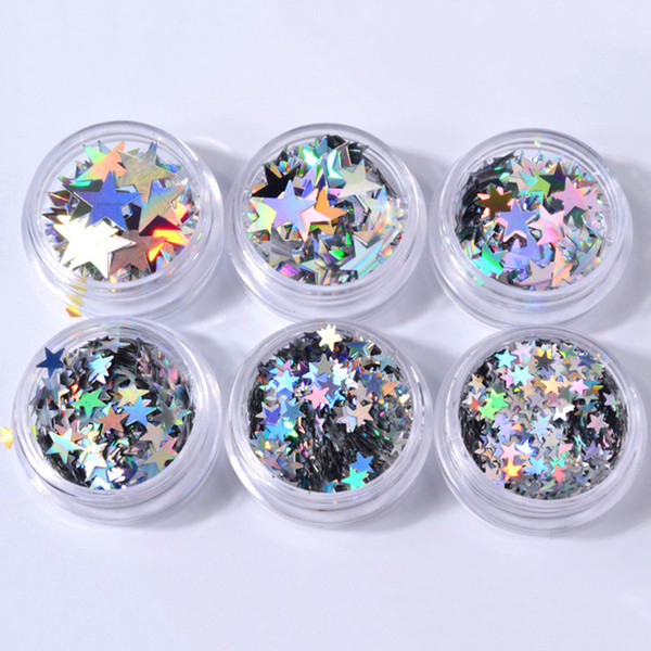 top popular Laser Star Shape Nails Art Decoration Sparkly 3D Gold silver Sequins Spangles Polish Nails Accessories 6pcs set 2021