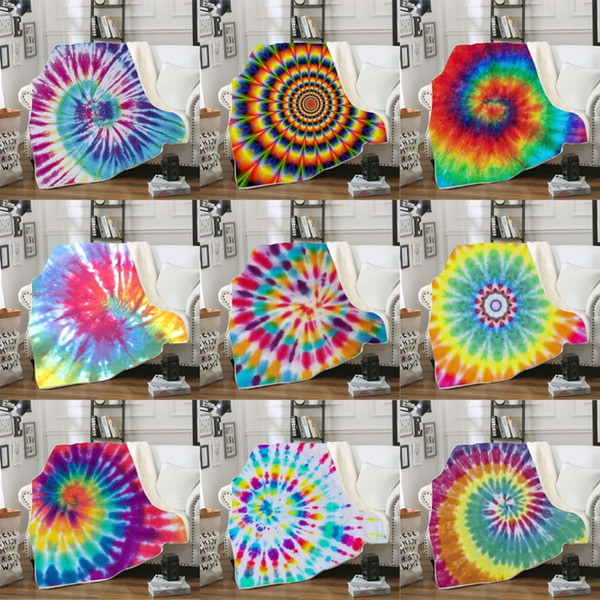 top popular 150*130cm Throw Blankets Tie Dye Sherpa Blanket Kids Quilt Soft Plush Couch Bedspreads Kid Winter Plush Shawl Couch Sofa Wrap 11styles M2284 2020