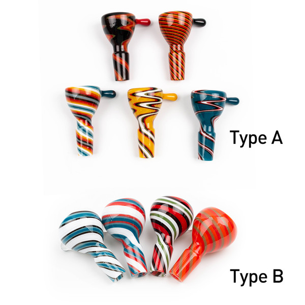 best selling Newest Colorful Glass Bowls 14mm 18mm Male Smoking Bowl With Handle Beautiful Slide Dabber for Glass Bong Dab Rigs