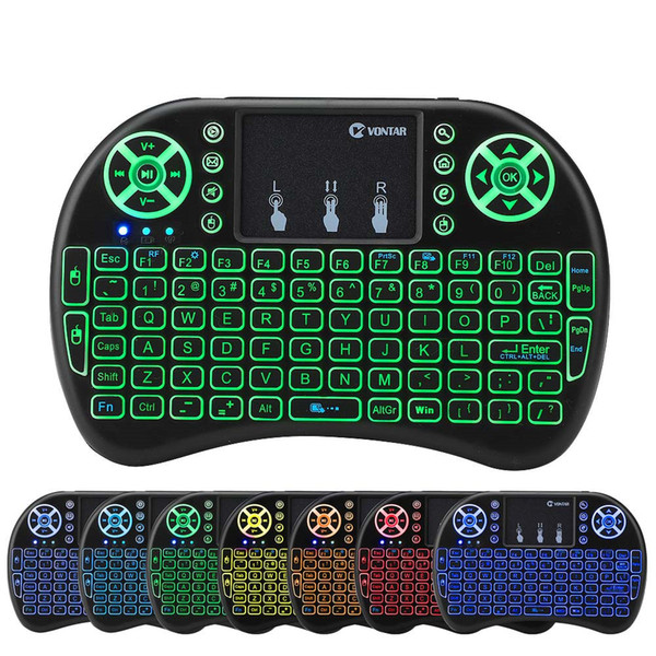 best selling Rii i8 Backlit Remote Air Mouse Mini Keyboard with Touchpad Backlight Wireless Control for Android Smart TV Box MXQ M8S X96 T95 X92 HTPC PS3