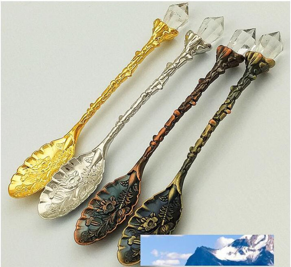 best selling Crystal Retro pattern Tea Spoon Stir Coffee Spoon Honey Dessert Ice Cream Scoop Teaspoon Tableware Free Shipping
