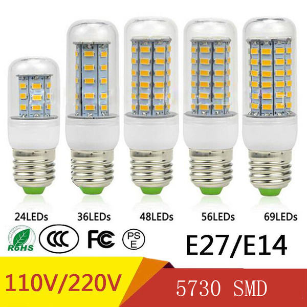 best selling SMD5730 E27 GU10 B22 E14 G9 LED lamp 7W 12W 15W 18W 20W 220V 110V 360 angle SMD LED Bulb Led Corn light