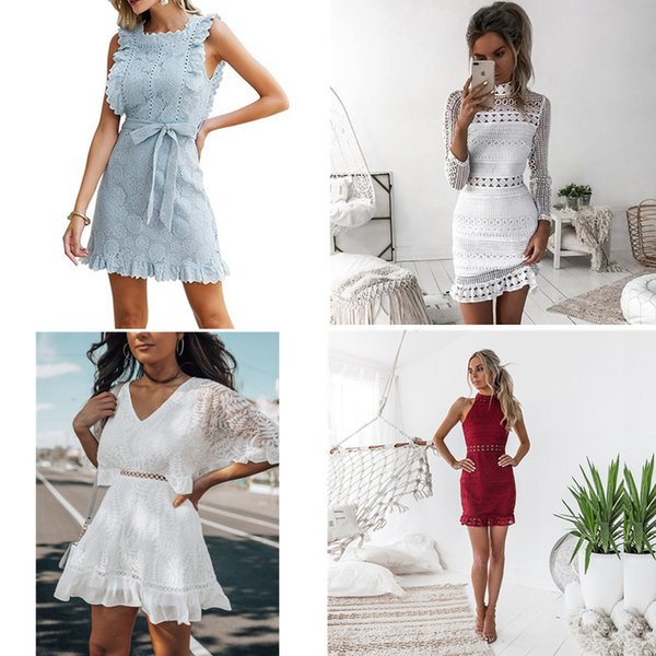 top popular 6 Colors Elegant hollow out lace dress women ladies sexy sleeveless summer midi white dress spring short casual hollow party evening dresses 2020