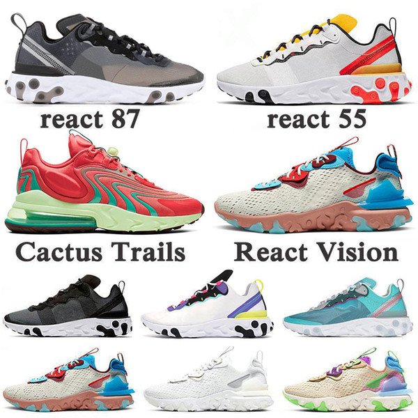 top popular New Arrival React Vision Element 55 87 SE Cactus Trails Bauhaus Running Shoes Triple Black Iridescent Desert Oasis Women Men Sports Sneakers 2021