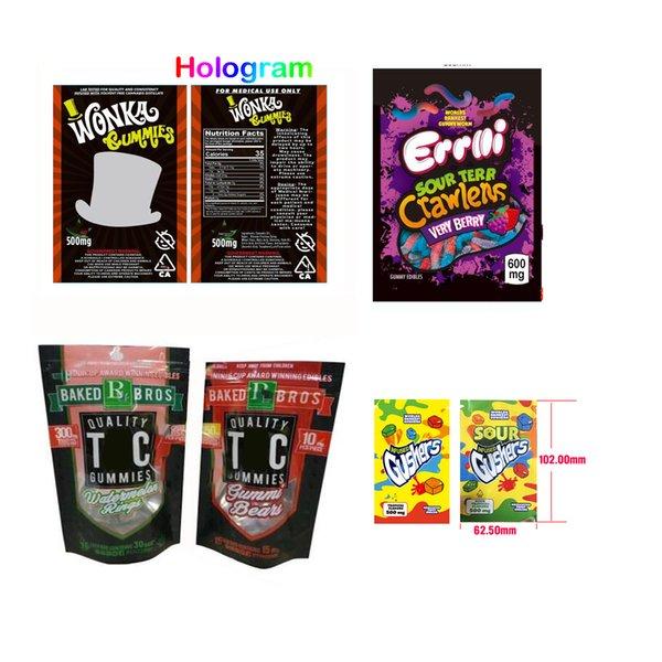 top popular EMPTY Gushers 500mg Sour Gushers 600mg Errlli Sour Terp Crawlers Edibles bag packaging Hashtag bag Cookies 2020