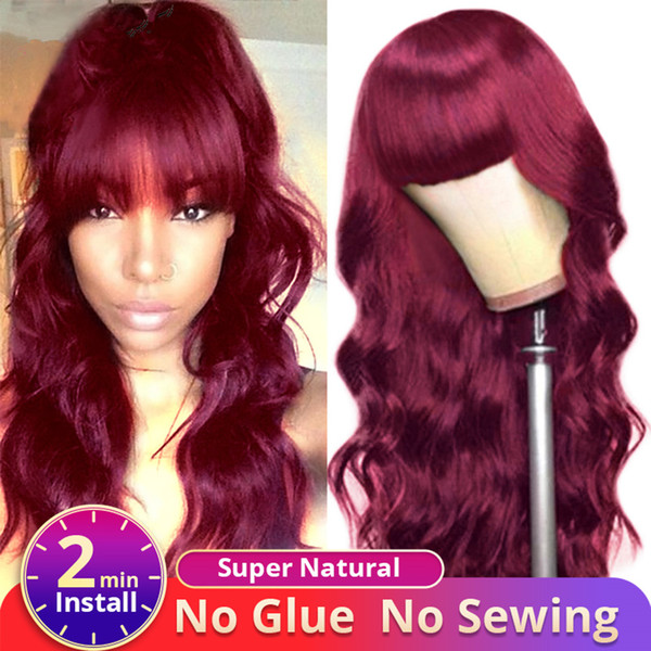 Ishow Brazilian Human Hair Wigs with Bangs Peruvian Body Wave None Lace Wigs Indian Hair Malaysian Body Wave