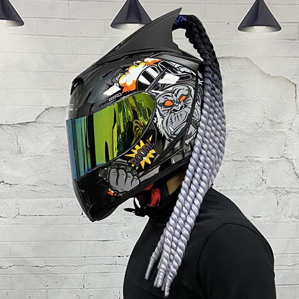 best selling Full Face Motorcycle Helmet Double lens ABS Material Motorbike Motocross Helmet With braids Horns Accessories