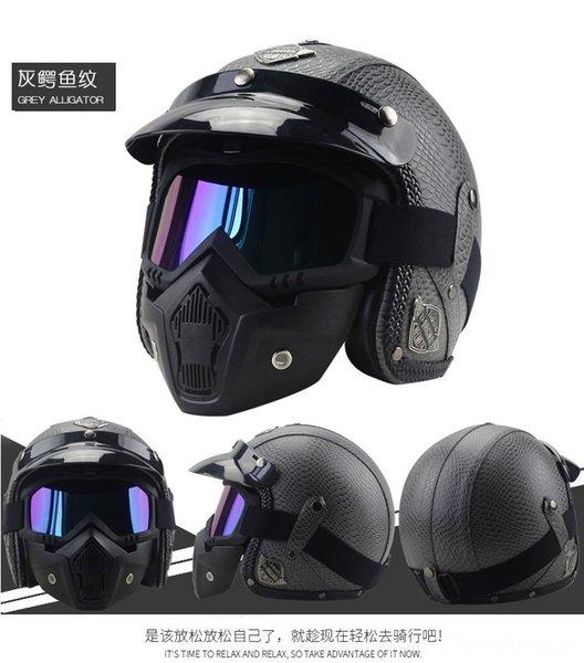 grigio modello coccodrillo casco + maschera
