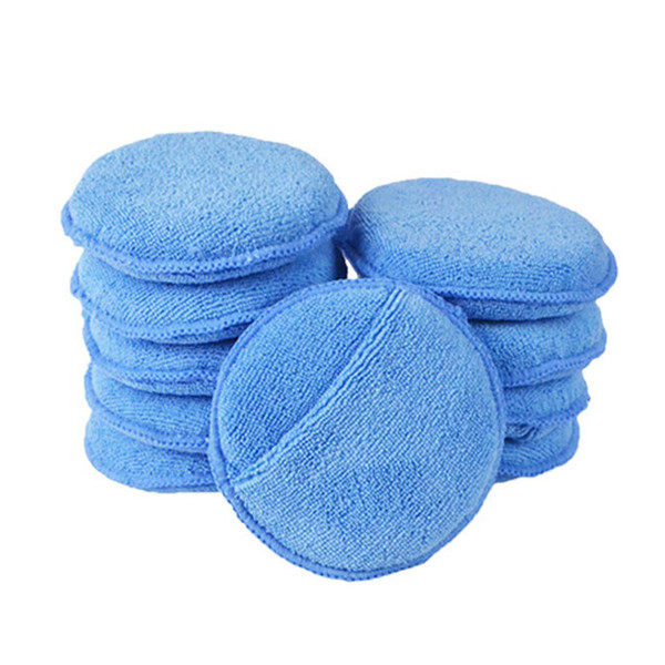 "top popular Car Wash & Maintenance Paint Care 10pcs Car Waxing Polish Soft Microfiber Foam Sponge Applicator Cleaning Detailing Pads 5"" 2021"