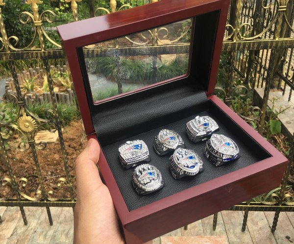 6Pcs Patriot ring set with wooden box
