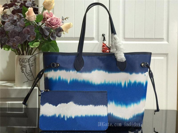 best selling 21 colors never shopping bag old flower women MM large cavans tote messenger bags full handbagneverfullwomen with pouch top MCZn#