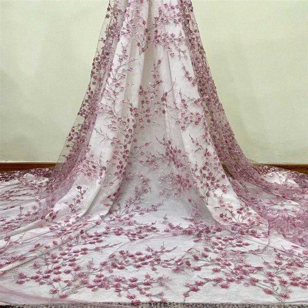 best selling Latest Pink African 3D Flower Sequins Lace Fabric 2020 High Quality Nigerian Wedding Tulle Lace Fabric For African Women Bridal QdvP#