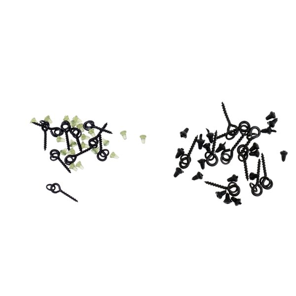 40x Green+Black Hook Stops Beads Carp Fishing Chod Rigs /& 20pcs Bait Screws