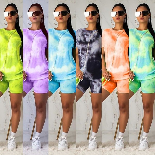 top popular women two piece outfits set casual Tracksuit Tie-dye Short sleeve T-Shirt biker Shorts Suits sportswear plus size clothing DHL free 2020