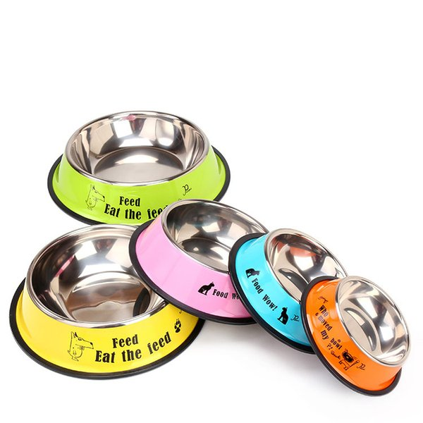 top popular Candy color Dog Bowls cartoon Stainless Steel Dog Bowl Pet Feeders Cat Dogs Food Water Feed Bowl pet dog supply drop ship 2021