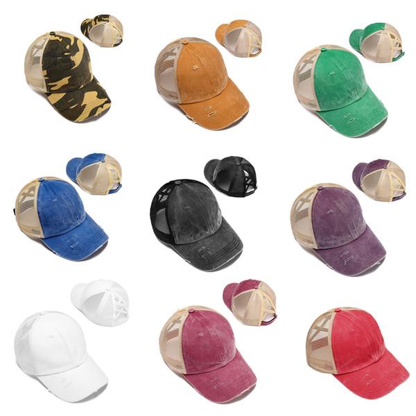 best selling plain solid Ponytail Baseball Cap Messy Buns hat Trucker Pony caps unisex Visor Cap Dad Hat mesh summer outdoor Snapbacks Women Ponytail hat