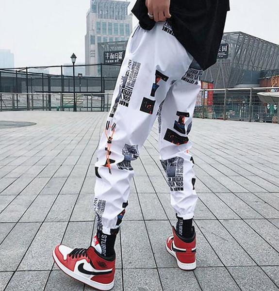 top popular Hip hop Pants Men Loose Joggers Pants with Print Streetwear Harem Pants Clothes Ankle length Trousers Harajuku Sport Casual 2020