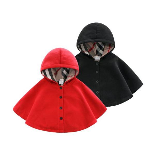 top popular Children's cloak outwear baby hooded all-match Girls Boys coat cloak female red black children's shawl autumn winter coat 2021