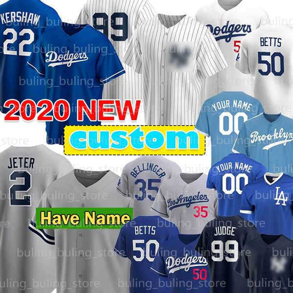 top popular 50 Mookie Betts Jersey 2 Derek Jeter 99 Aaron Judge 22 Clayton Kershaw 2020 Custom 25 Gleyber Torres 35 Cody Bellinger Justin Turner 2020