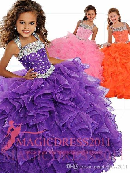 best selling 2021 Ritzee Girl's Pageant Dresses Beaded Ruffles Tulle Ball Gown Floor Length Pink Purple Orange Flower Girl Dresses Quinceanera Dress