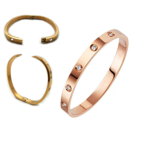 best selling Classic Fashion 316L stainless steel bracelet bangle gold color Titanium Steel Love Bracelets for men and women Couple Jewelry