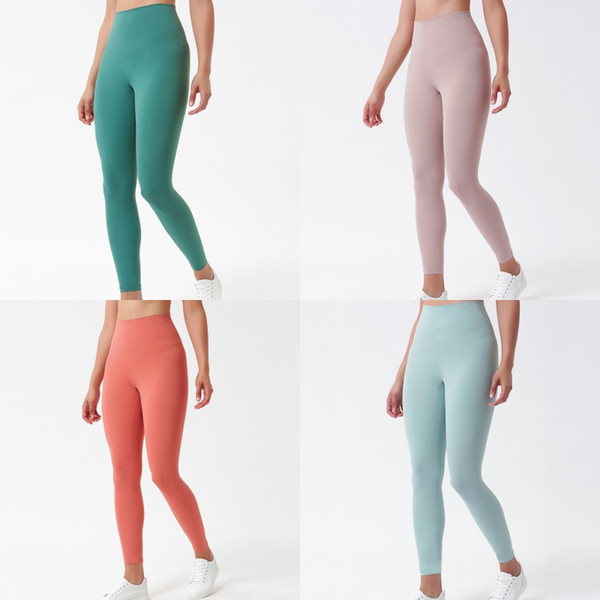 top popular Solid Color Women Stylist Leggings High Waist Gym Wear Elastic Fitness Lady Overall Full Tights Workout Womens Sweatpants Yoga Pants 2021