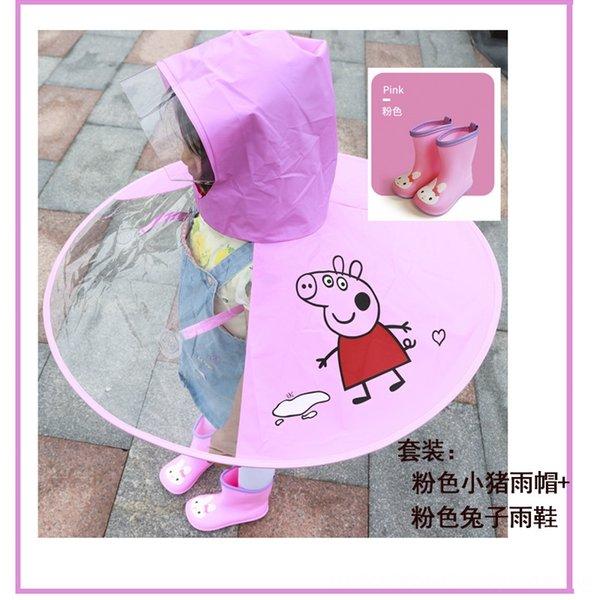 Set (peva verdickte rosa Schwein Raincoat +