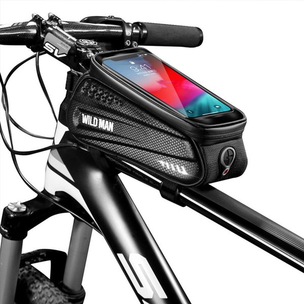 top popular WILD MAN Bicycle Handlebar Bag TPU Touch Screen Waterproof Frame Front Top Tube Cycling Bag suit for 4.7-6.5 inch Cell Phone MX200717 2021