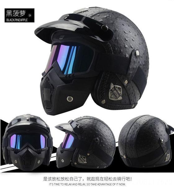 ananas nero maschera casco +