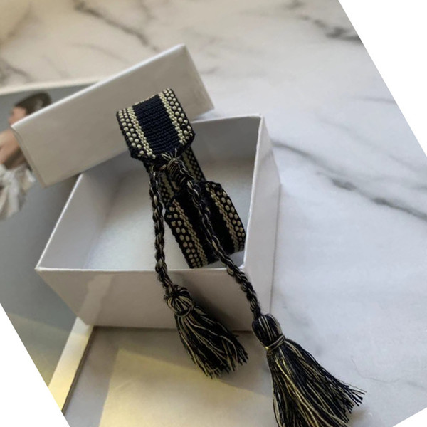 best selling 2020 designer bracelets fabric bracelet Women Cotton Jewelry Letter Signature Bracelet Woven Bangle Tassel Embroidery Bracelet with box