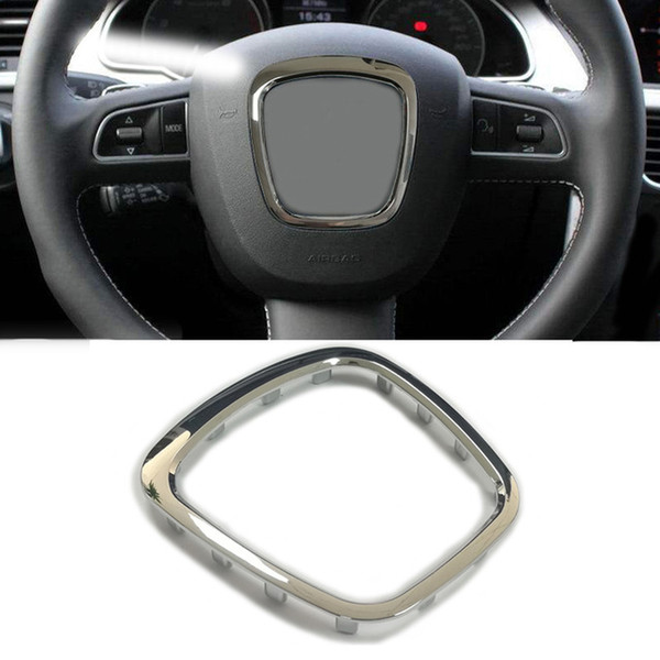 Automobiles & Motorcycles ABS chrome car steering wheel trim wheel badge cover center emblem frame sticker for Audi A3 S3 8P A4