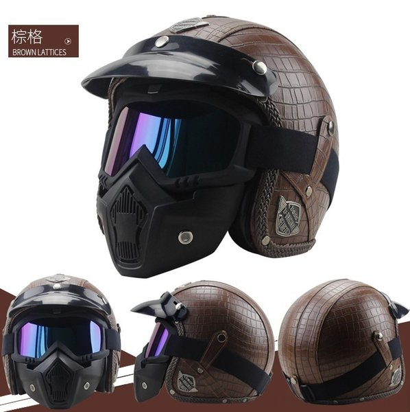 marrone griglia maschera casco +