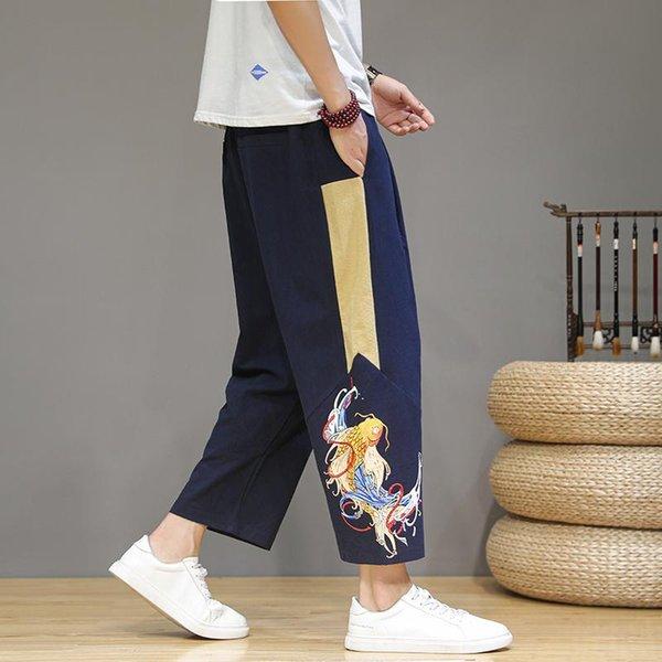 Navy Linen Pants Men
