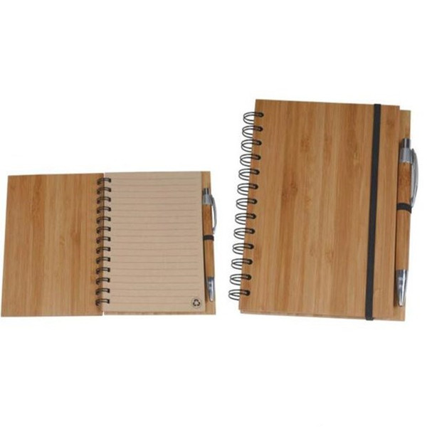 best selling Spiral Notebook Wood Bamboo Cover Notebook Spiral Notepad With Pen Student Environmental Notepads wholesale School Supplies WY717Q