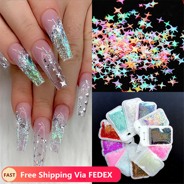 best selling Ultrathin Laser Star Nail Sequins for Nails Colorful Holographics Flakes Paillette Tool Nail Art Decorations DIY Design