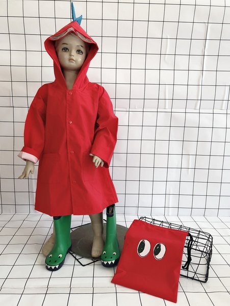 Red espessamento Zipper Dinosaur Raincoat-u