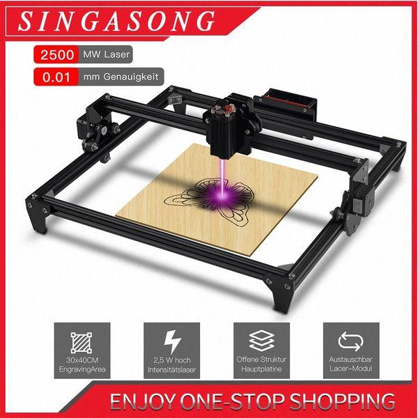top popular 30*40cm Mini 2500MW CNC Laser Engraving Machine 2Axis DIY Engraver Desktop Wood Router Cutter Printer + Laser Goggles Q0kd# 2021
