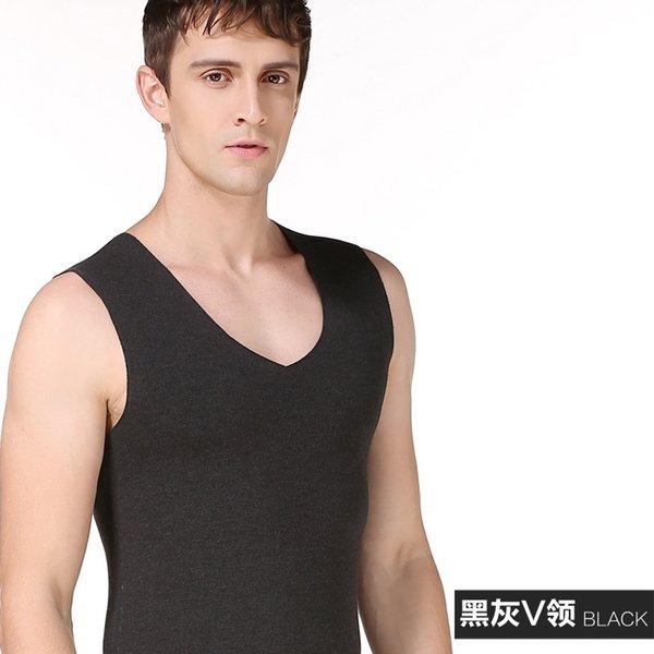 Черный и серый жилет V-образный вырез