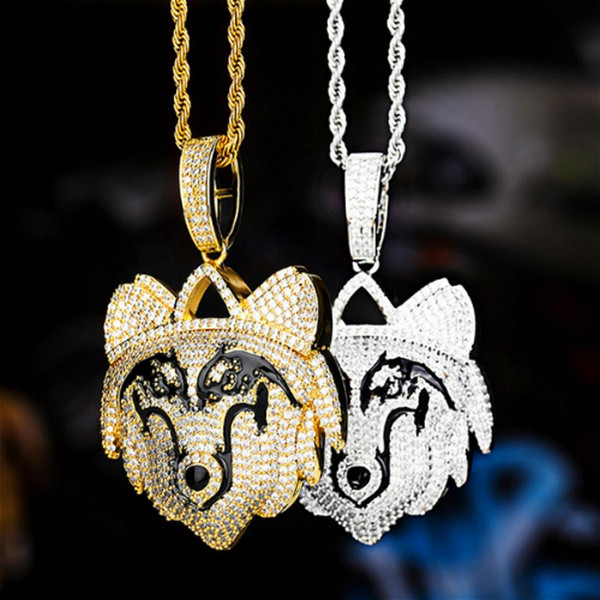18k real gold plated iced out cubic zirconia mens wolf dog pendant necklace personalized bling diamond hip hop rapper jewelry gift for guys, Silver