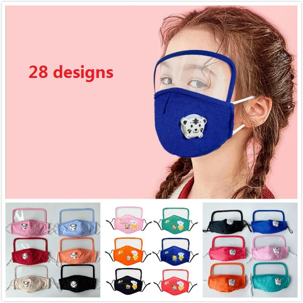 best selling Cute kids face masks with breathing valve and transparent eye shield children face mask anti dust fog fashion mouth mask face shield