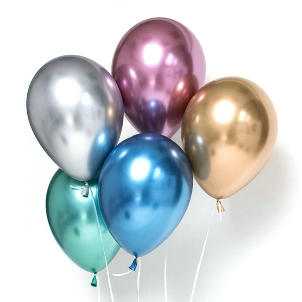 best selling 50Pcs Lot 10 inch Chrome Metallic Gold Silver Purple Green Blue Metal Latex Balloons Wedding Balloons Birthday Decorations Party Supplies