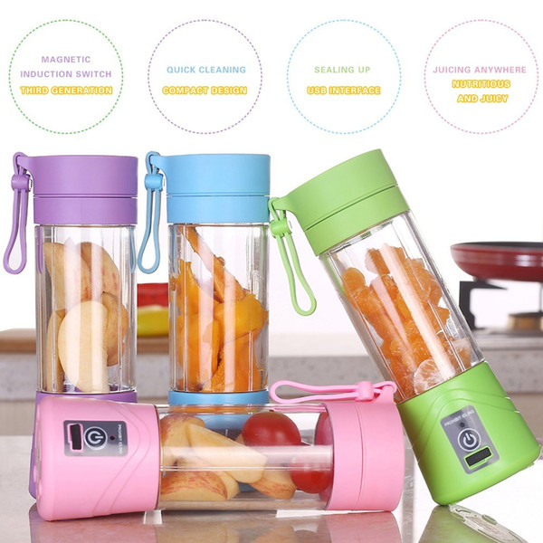 best selling 380ml Portable Blender Juicer Cup USB Rechargeable Electric Automatic Smoothie Vegetable Fruit Citrus Orange Juice Maker Cup Mixer Bottle