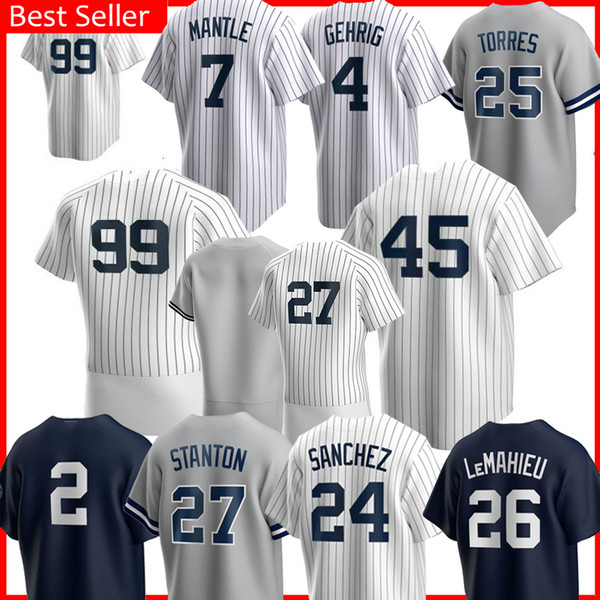 best selling 99 Aaron Judge 45 GERRIT COLE Jersey 2 Derek Jeter Sanchez 25 GLEYBER TORRES Don Mattingly DJ 42 Mariano Rivera LeMahieu Baseball Jerseys
