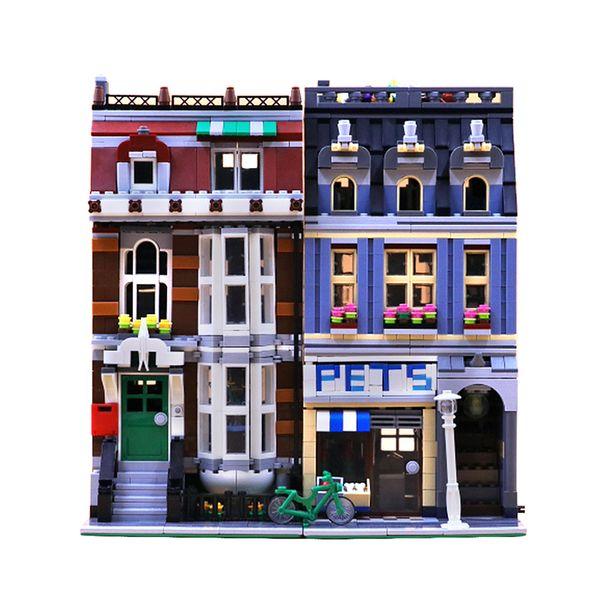 best selling In stock 15009 84009 2128pcs city Street view Pet Shop Building Blocks Bricks education toys compatible 10218 European warehouse