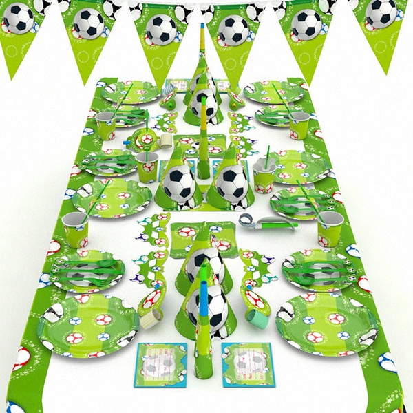 best selling World Cup Birthday Football Party Decor Children's Birthday Paper Cup Hat Napkins Plate Table Cloth Kids Happy Gifts tEEm#