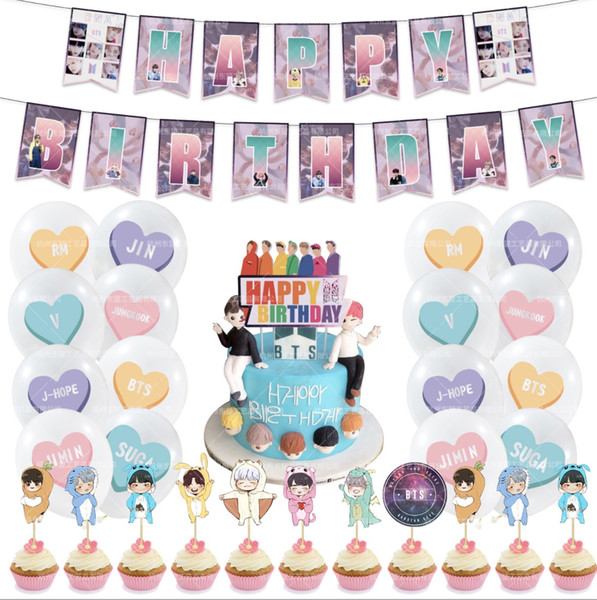 top popular 2sets lot free shipping bts theme celebrate birthday party balloon, banner and other tings 2021